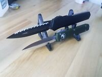 Polymer 2 dual double Knife Display Stand Knife Rack knives