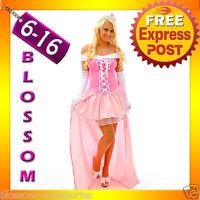G5 Ladies Princess Aurora Sleeping Beauty Fancy Dress Halloween Costume+ Tiara