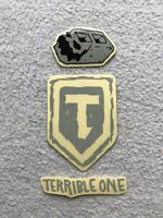 """NEW 3 x Terrible One BMX Stickers Black & Grey T1 Sticker Decal 3.25"""" Decals"""