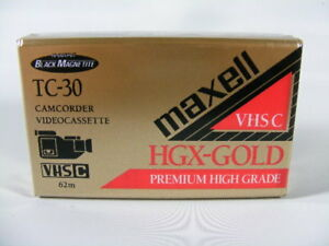 Maxell TC 30 VHS C Camcorder Videocassette Tape HGX Gold Premium High Grade New