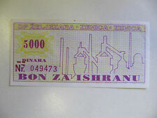 La Bosnie d'urgence Paper Money Zenica Iron Works 5,000 Dinara VF + (Bosian guerre) 1992