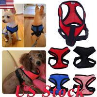 US Dog Harness Chest Strap Puppy Vest Breathable Mesh Cat Leash Pet Rope Clothes