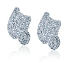 Pave Diamond Twisted Huggie Earrings in 14KT Gold 3.50ctw