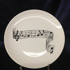 "SHAFFORD 1982 ENTERTAINING 7.75"" SALAD PLATE BLACK WHITE MUSICAL NOTES TREBLE"