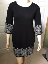 R & K Women's Black White Long Sleeve Round Sweater Dress Large L 10/12