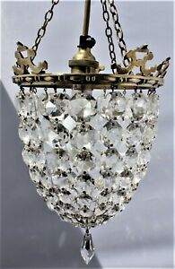 Bag brass  and crystal chandelier