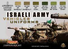 LIFECOLOR Israeli Army Vehicles & Uniforms Camouflage Acrylic Set 6 22ml Bottles