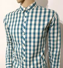 Paul Smith Mens Shirt Tailored Fit Gingham Check Teal White Sz L 16.5 RRP £135