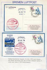 Bremer Luftpost Australien 2x 1 Brief mit St. B 747 Lufthansa 20. Juli 1978