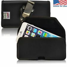 Turtleback iPhone 6 Plus Black Leather Pouch Holster Case with Metal Belt Clip