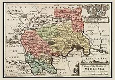 MAP 17TH CENTURY HOLLAR MIDDLESEX HUNDREDS ENGLAND REPLICA POSTER PRINT PAM0250