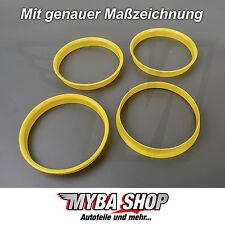 4x Zentrierringe in Gelb 74.1 mm - 72.6 mm für BMW