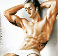 Print Of Male Oil Painting - Taking A Rest Pin Up Art Man Picture Artist Andreev