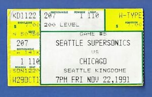 Michael Jordan 1991 Ticket Stub - 11/22/91 vs Seattle Sonics Chicago Bulls