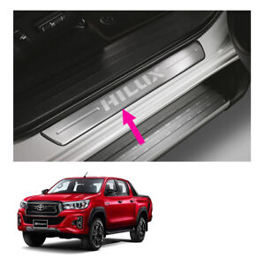Door Sill Scuff Plate Trim Stainless Fits Toyota Hilux Revo Rocco 4 Dr 2015 2019