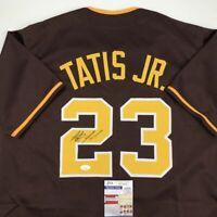 Autographed/Signed FERNANDO TATIS JR. San Diego Brown Baseball Jersey JSA COA