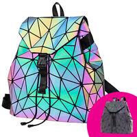 HAWWWY Luminous Geometric Backpack Handbag Holographic Reflective Color Changing