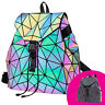 HAWWWY Luminous Geometric Backpack Handbag Holographic Reflective Color Changing