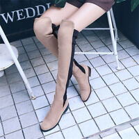 Womens Colorblock Knee High Elastic Boots Round Toe Suede Block Low Heel Shoes