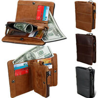 Mens Leather Bifold Wallet RFID Protection Zip Coin Pocket Purse Card Holders