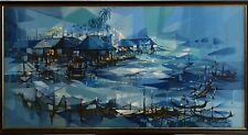 MCM Large Painting Oil on Canvas Abstract Tropical Fishing Scene