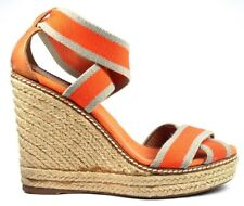 Tory Burch Adonis Logo Espadrille Wedge Stretch Stripe Orange Heel Sandal Size 7