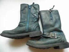 Girls Clarks Calf Length Boots Dark Blue Distressed Look Size 10F 10 F FREE POST
