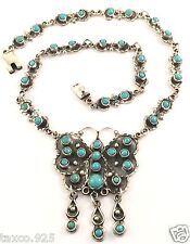 Turquoise Butterfly Necklace Mexico Taxco Mexican 925 Sterling Silver