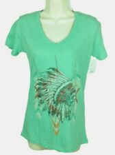 Cowgirl Up Womens V-Neck Shirt Sz Large Mint Head Dress Short Sleeve CG1852 NEW