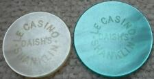 2 x Isla de Wight Casino Chips le Casino Daish's Shanklin 5/10/& - -
