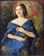 American Boudoir Painting F Humphry Woolrych Listed Art 1931 Near Nude Portrait