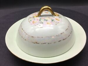 "Antique Round Covered Butter Dish & Strainer 7"" Diameter  KPM Porcelain Silesia"
