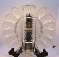 Pressed Glass Deviled Egg Plate Center Divider Heavy Vintage