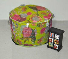 Indian Handmade Kantha Quilt Ottoman Pouf Cover Vintage Cotton Round Pouf Ethnic