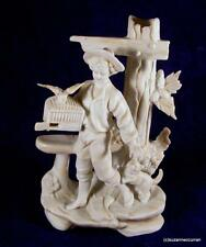 Antique German Parian Bisque Boy with Bird Birdcage & Cat Figurine