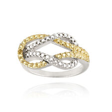 925 Silver Two-Tone Yellow Diamond Accent Love Knot Ring Size 6
