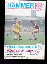 Hammer- West Ham United FC Official Programme v Manchester United May 8 1982