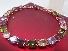 18K Rose gold Solid 5mm Multi-color Oval Gemstone Women's Tennis bracelet 8 inch