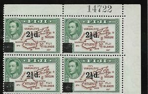 FIGI   SG 267 THE 1941 GVI 2.5d on 2d BROWN & GREEN IN MNH BLOCK WITH SHEET NO