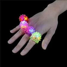 3 LED FLASHING COLOR LIGHT UP BUMPY RINGS RAVES PARTY JELLY RING CARNIVAL PRIZES