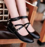 Many Jane Lolita Women Round Toe Flats Pump Shoes Buckle Strap Party Sweet Muk15