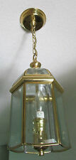 Vintage Goldtone Glass 6 Sided Lantern Ceiling Pendant Hanging Light Fixture