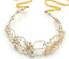 Luxury Gold Bridal Halo Wedding Pearl Beaded Hair Band Crystal Vine Headpieces