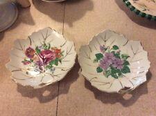 Set Of 2 Antique Floral Viceroy Leaf Dishes Gold Trimmed