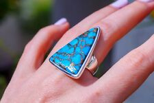 Blue Mojave Turquoise set in Wide Band 925 Sterling Silver Ring size 7.5