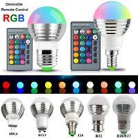 2-6X RGB LED Glühbirne Lampe E14 E27 B22 GU10 MR16 5W Farbe Change+Fernbedienung