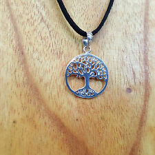925 Sterling Silver Tree Of Life Circle Pendant on Suede Jewellary
