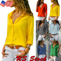 Women OL Ladies T Shirt Plain Casual Button Blouse Long Sleeve V-neck Loose Tops