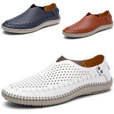 Mens Genuine Leather Hollow Out Moccasins Slip On Loafers Walking Driving Shoes