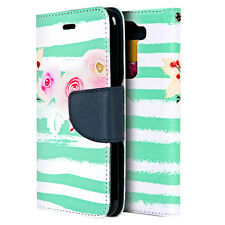 For LG Treasure Tracfone - MINT BLUE FLOWERS Credit Card Wallet Folio Diary Case